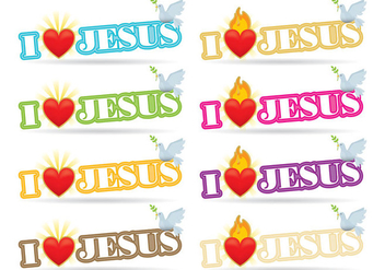 I Love Jesus Sacred Heart Vectors - бесплатный vector #367119