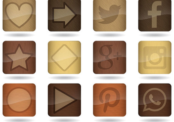 Wood App Icon Vectors - бесплатный vector #367209