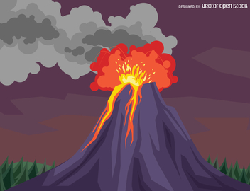 Volcano eruption drawing - vector gratuit #367349