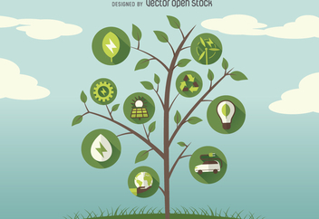 Green energy tree icons - Free vector #367579