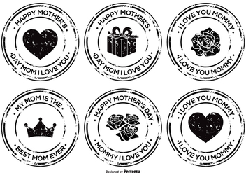 Mother's Day Grunge Badge Set - vector #367769 gratis