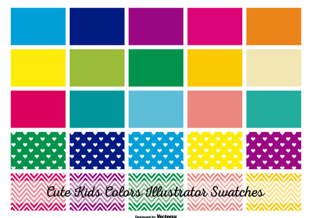 Kids Colors Illustrator Swatches - Free vector #367779