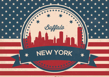 Retro Buffalo New York Skyline - vector gratuit #367849