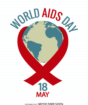 AIDS Day poster with world inside red ribbon - Free vector #368049