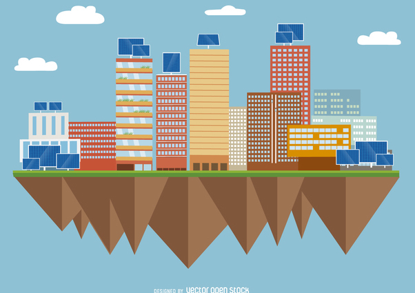 City with solar panels - Free vector #368059