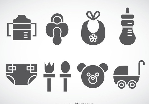 Kids And Baby Stuff Grey Icons Vector - vector #368349 gratis