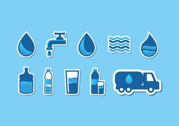 Agua Water Icon Set - vector #368369 gratis