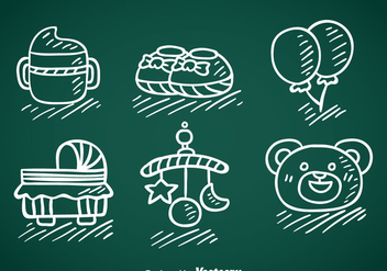 Kids And Baby Stuff Hand Draw Vector - vector #368379 gratis