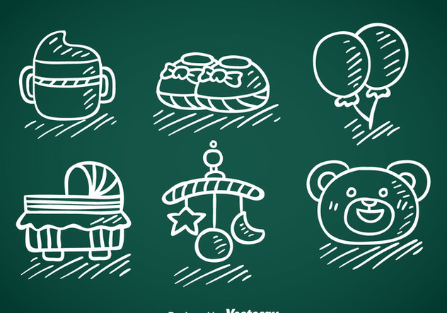 Kids And Baby Stuff Hand Draw Vector - Free vector #368379