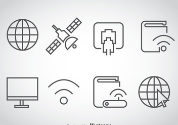 Internet Outline Icons Vector - vector gratuit #368459