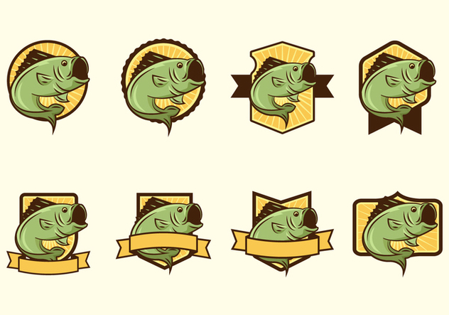 Free Largemouth Bass Fish Badge Vectors - vector #368599 gratis