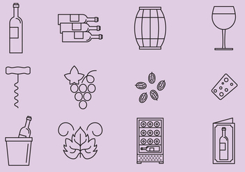 Grape And Wine Icons - vector gratuit #368719