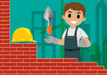 Bricklayer Building Wall Vector - Free vector #368779