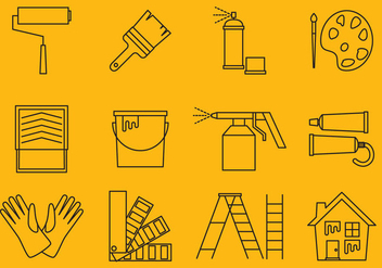 Painting Line Icons - vector #368929 gratis