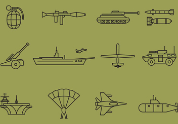 Vector War Line Icons - Free vector #368939