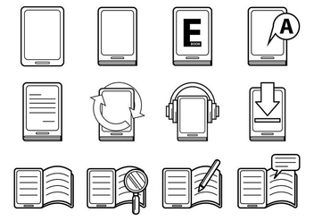 E-Book And E-Reader Icon Vector - Kostenloses vector #369029