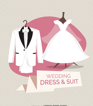 Wedding dress and suit illustration - бесплатный vector #369209