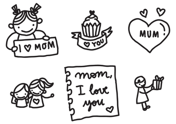 Love My Mom Badges - Free vector #369279