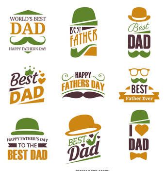 Father's Day badge label set - vector gratuit #369469