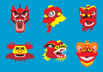 Barongsai Heads Vector - Free vector #369519