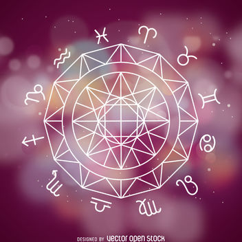 Zodiac signs wheel - vector gratuit #369549