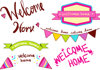 Welcome Home Banner Type Set - Free vector #369609
