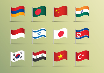Asian Flags Illustrations Vector - vector gratuit #369759