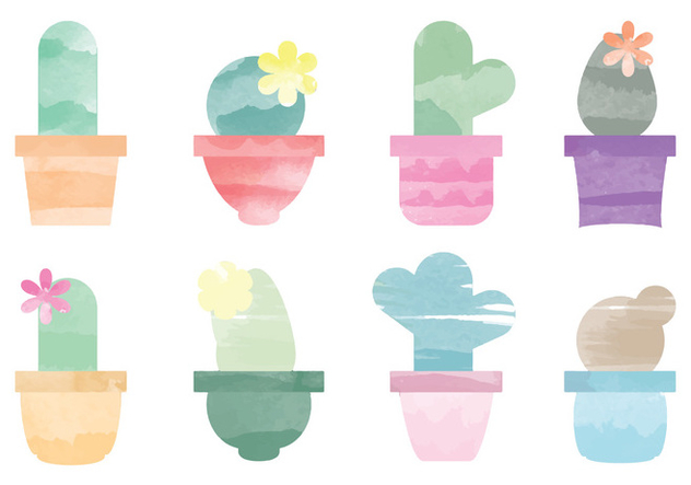 Vector Watercolor Cactus Elements - vector gratuit #369779