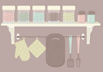 Cute Kitchen Elements Vector Set - бесплатный vector #369829