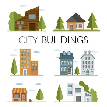 Flat houses and buildings illustration - бесплатный vector #369869