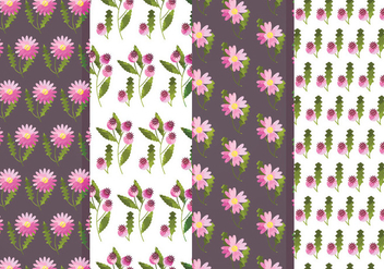 Vector Flower and Rosehip Pattern Set - Free vector #369909