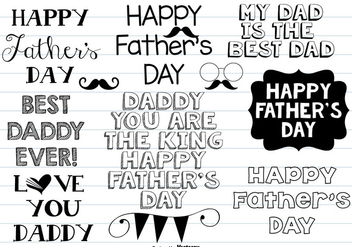 Cute Father's Day Hand Drawn Doodle Set - Free vector #369949