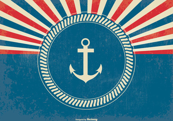 Nautical Style Retro Sunburst Background - vector #370149 gratis