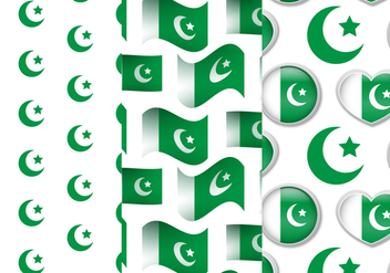 Pakistan Flag Pattern Set - vector gratuit #370299