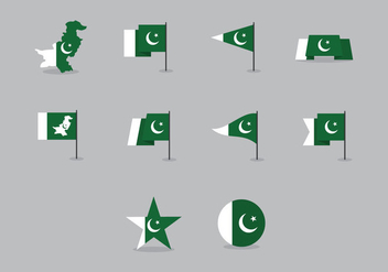 Vector Pakistan Flag Pack - Kostenloses vector #370359