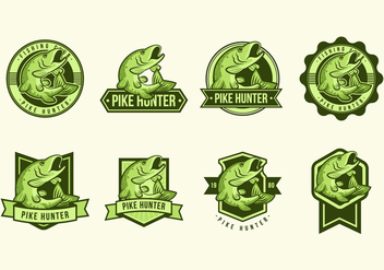 Free Pike Fish Badges Vectors - Free vector #370369