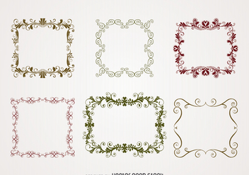 Illustrated swirl frame set - vector gratuit #370699