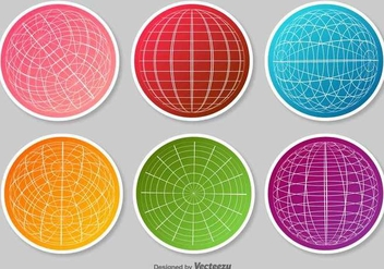 Set Of Globe Grid Vector Stickers - vector gratuit #370949
