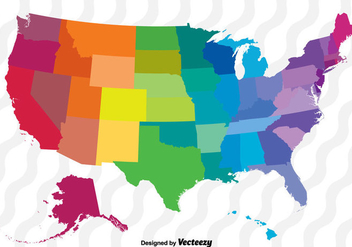 Colorful Vector Map Of The United States - Kostenloses vector #370979