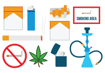 Free Flat Smoking Icons - vector gratuit #371089