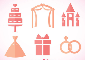 Wedding Pink Icons - Free vector #371329