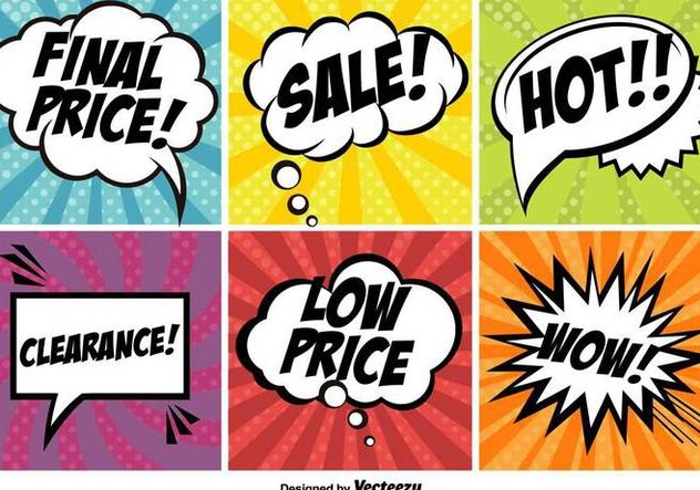 Pop Art Comic Promotion Vector Banners Set - vector gratuit #371629