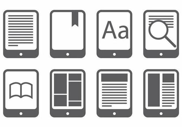 E Reader Icon Set - бесплатный vector #371749