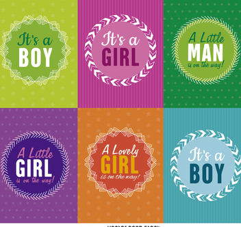 Baby shower label set - бесплатный vector #372239