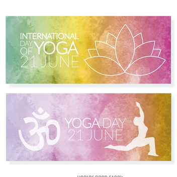 Yoga Day banner set - vector #372269 gratis