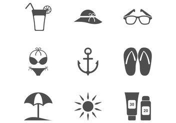 Beach Minimalist Icon - Free vector #372409