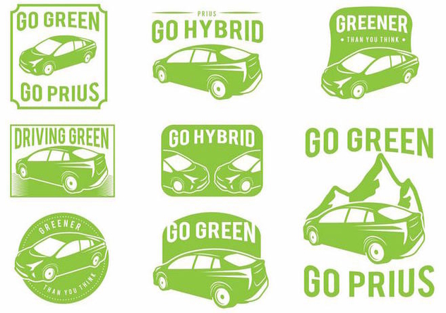Prius Green Car Badge Set - vector #372429 gratis