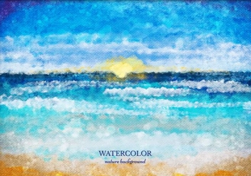 Free Vector Watercolor Sea Landscape - Free vector #372589