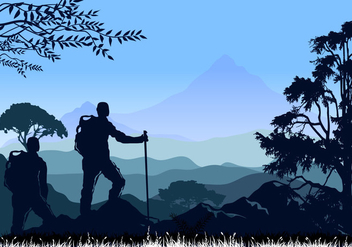 Mountaineering and Traveling Vector Illustration - vector gratuit #372899