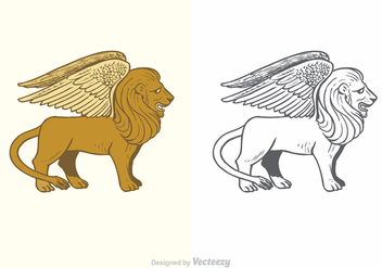 Free Vector Winged Lion Illustration - бесплатный vector #372909